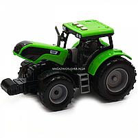 Машинка игровая автопром «Зеленый трактор с открытым прицепом» (свет, звук, пластик) 7925ABCD, фото 8