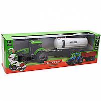 Машинка ігрова автопром «Зелений трактор з цистерною» (світло, звук, пластик) 7925ABCD, фото 2
