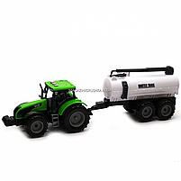 Машинка ігрова автопром «Зелений трактор з цистерною» (світло, звук, пластик) 7925ABCD, фото 4