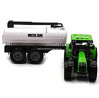 Машинка ігрова автопром «Зелений трактор з цистерною» (світло, звук, пластик) 7925ABCD, фото 5