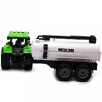 Машинка ігрова автопром «Зелений трактор з цистерною» (світло, звук, пластик) 7925ABCD, фото 6