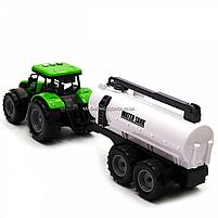 Машинка ігрова автопром «Зелений трактор з цистерною» (світло, звук, пластик) 7925ABCD, фото 7