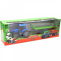 Машинка ігрова автопром «Синій трактор з відкритим причепом» (світло, звук, пластик) 7925ABCD, фото 2