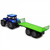 Машинка ігрова автопром «Синій трактор з відкритим причепом» (світло, звук, пластик) 7925ABCD, фото 4