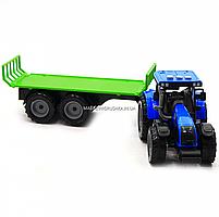 Машинка ігрова автопром «Синій трактор з відкритим причепом» (світло, звук, пластик) 7925ABCD, фото 5
