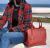 Красная/бордовая сумка кожаная, фото 1