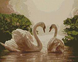 """Алмазная мозаика """"Пара лебедей"""" 40*50 см AM6135"""