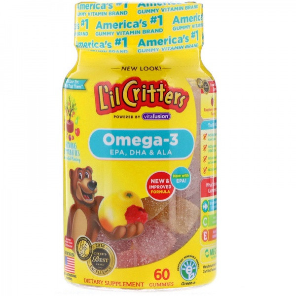 L'il Critters Детские мармеладные конфеты с омегой 3 60 шт Omega-3 Raspberry-Lemonade Flavors 60 Gummies
