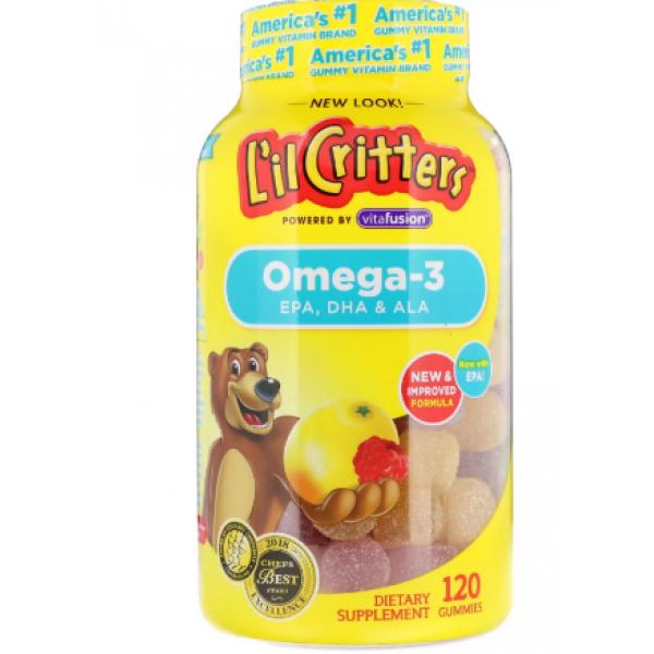 L'il Critters Детские мармеладные конфеты с омегой 3 120 шт Omega-3 Raspberry-Lemonade Flavors 120 Gummies