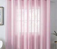 Готовые Шторы комплект для спальни из легкой ткани вуаль НЕЖНО-РОЗОВОГО цвета  6 м.