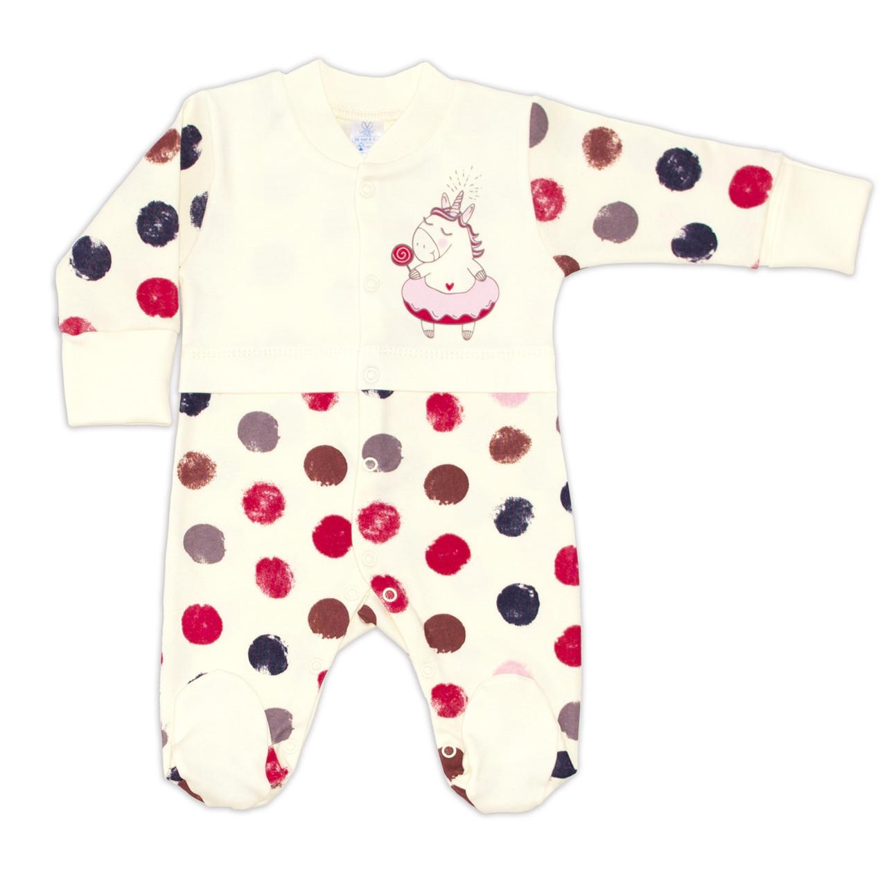 Комбинезон для новорожденных Верес Sweet Unicorn интерлок 56 молочный
