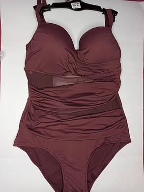 Цельный купальник с сеткой 3904 коричневый на 52 56 58 размер, фото 2