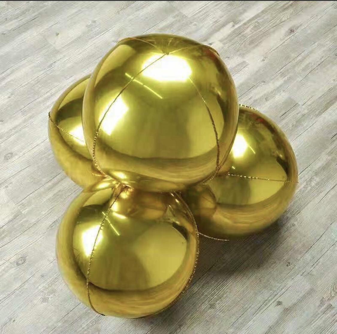Фольгированный шар Сфера 3D Золото. Размер 22'