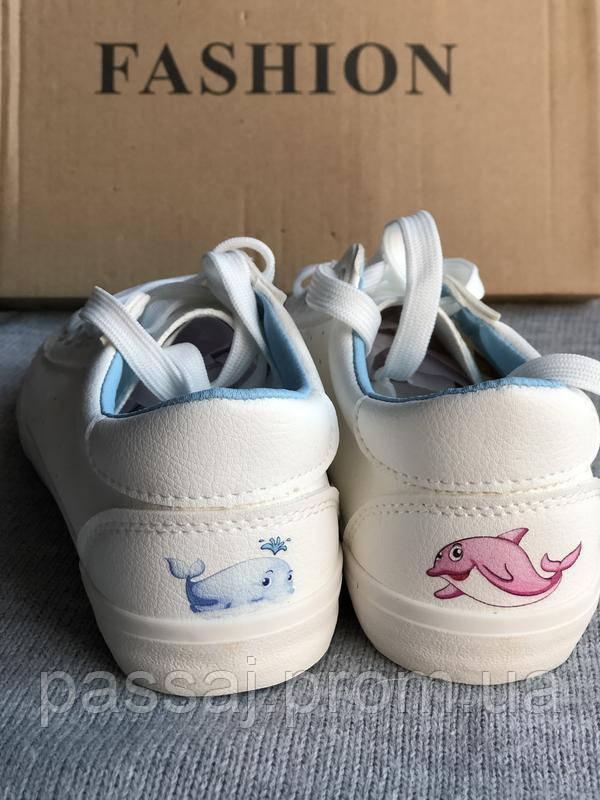 Белые мягкие кеды с дельфинами