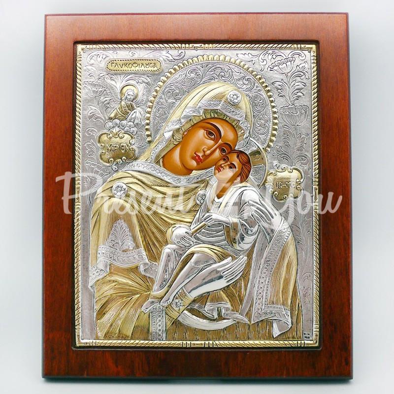 Икона Богородицы «Сладкое Лобзание» («Гликофилуса»), 23х27 см.