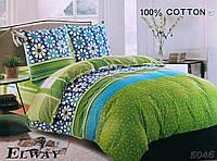 Комплект постельного белья евро двуспальный хлопковый Elway 5046 сине-зеленый