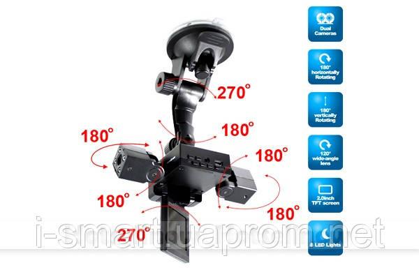 """Видеорегистратор на 2 камеры  1280P + TFT 2.0"""" LCD"""