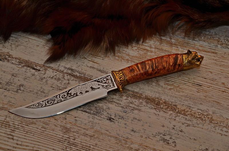 "Нож подарочный, ручная работа ""Тигр"", 40Х13"