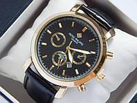 Мужские кварцевые наручные часы Patek Philippe на кожаном ремешке