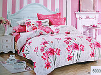 Комплект постельного белья евро двухспальный хлопковый Elway 5033 бело-розовый
