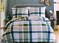Комплект постельного белья евро двуспальный хлопковый Elway 5045 в клетку