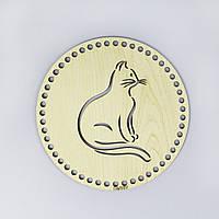 Донышко круглое 20 см из прессованной древесины Белый Ясень с рисунком Royal Cat