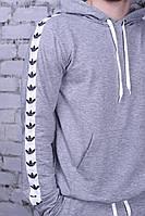 Худі з білими лампасами Adidas | толстовка сіра адідас, фото 1