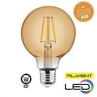 Светодиодная филаментная лампа  шар RUSTIC GLOBE 6W 2200K AMBER HOROZ