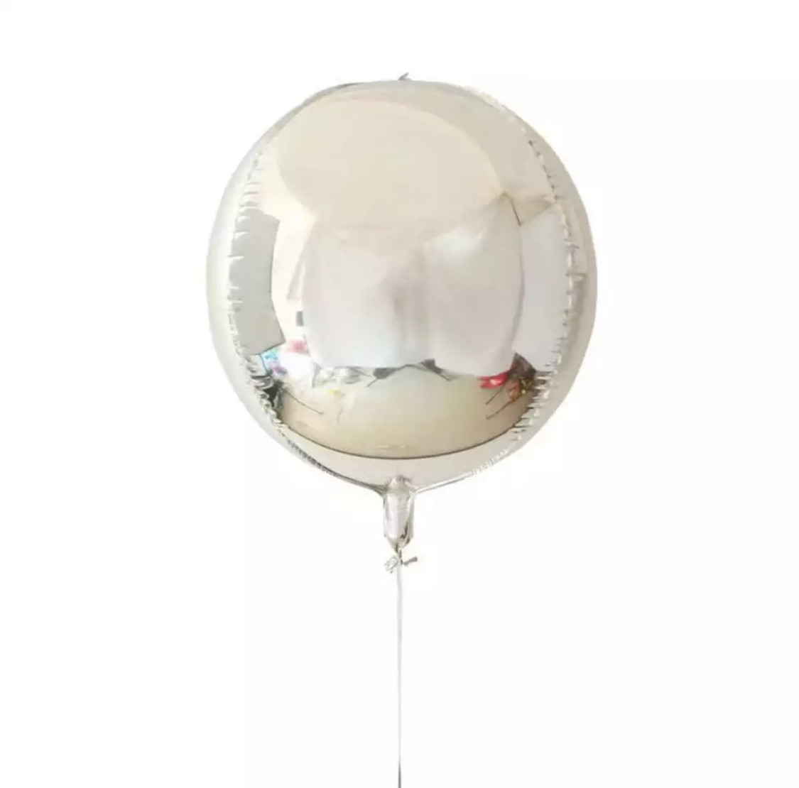 Фольгированный шар Сфера 3D Серебро. Размер 22'