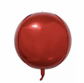 Фольгированный шар Сфера 3D красный.Размер 22'