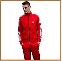 Мужской спортивный костюм Adidas Red White (адидас, красный / белый) олимпийка и штаны