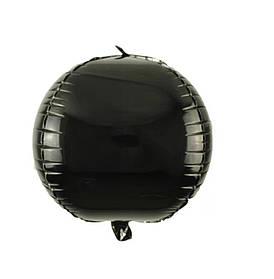 Фольгированный шар Сфера 3D чёрный. Размер 22'
