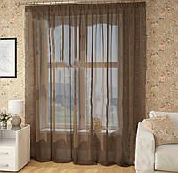 Готовые Шторы комплект для спальни из легкой ткани вуаль коричневая 4 м.