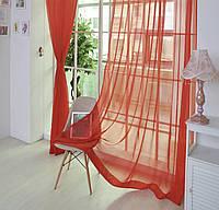 Готовые Шторы комплект для спальни из легкой ткани вуаль КРАСНОГО цвета  4 м.