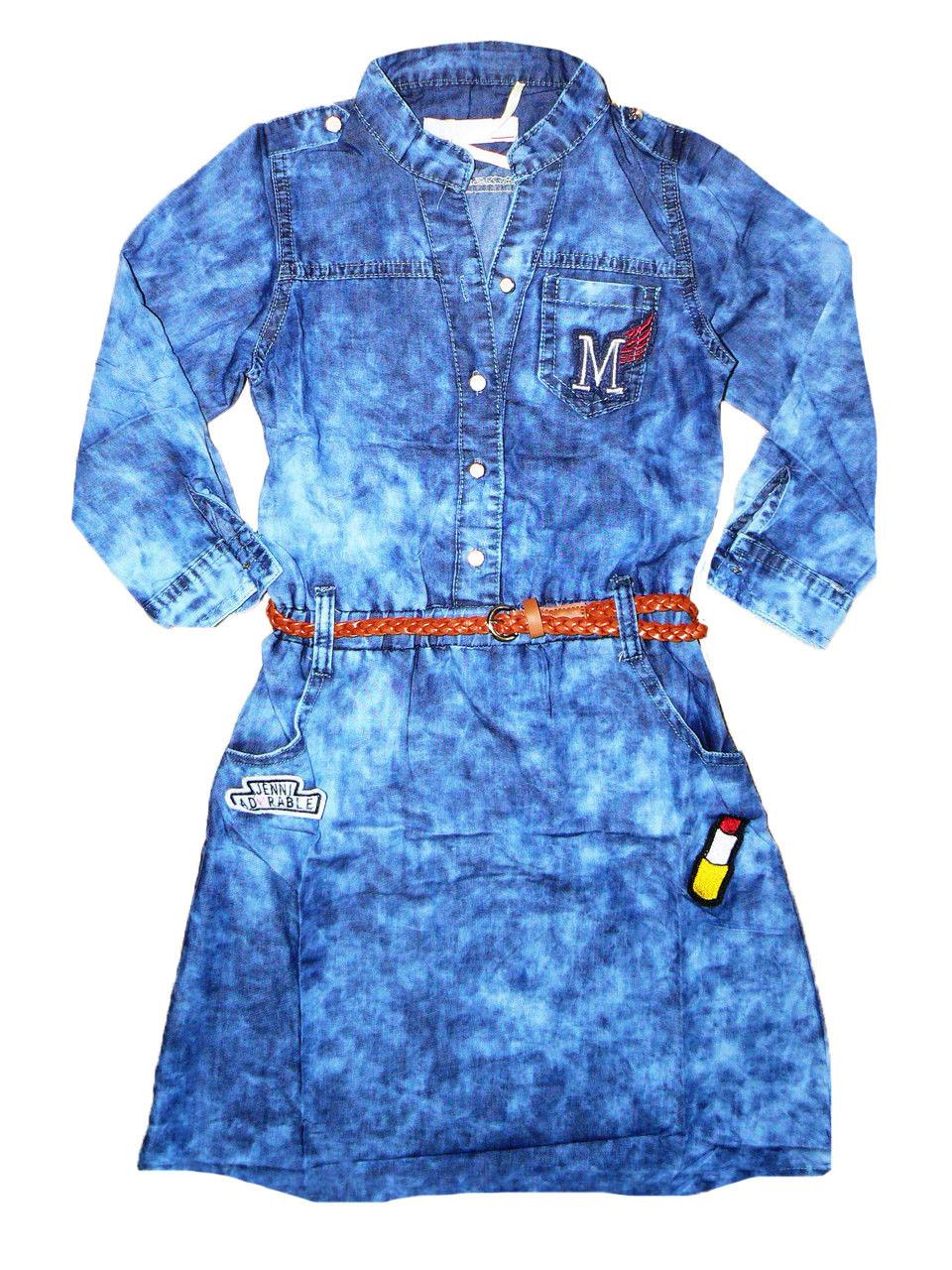 Джинсовое платье для девочек опт, Seagull, размеры  -134,140,152, арт. CSQ-89065