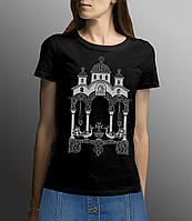 Освященная женская футболка «Храм Богородицы» с молитвой