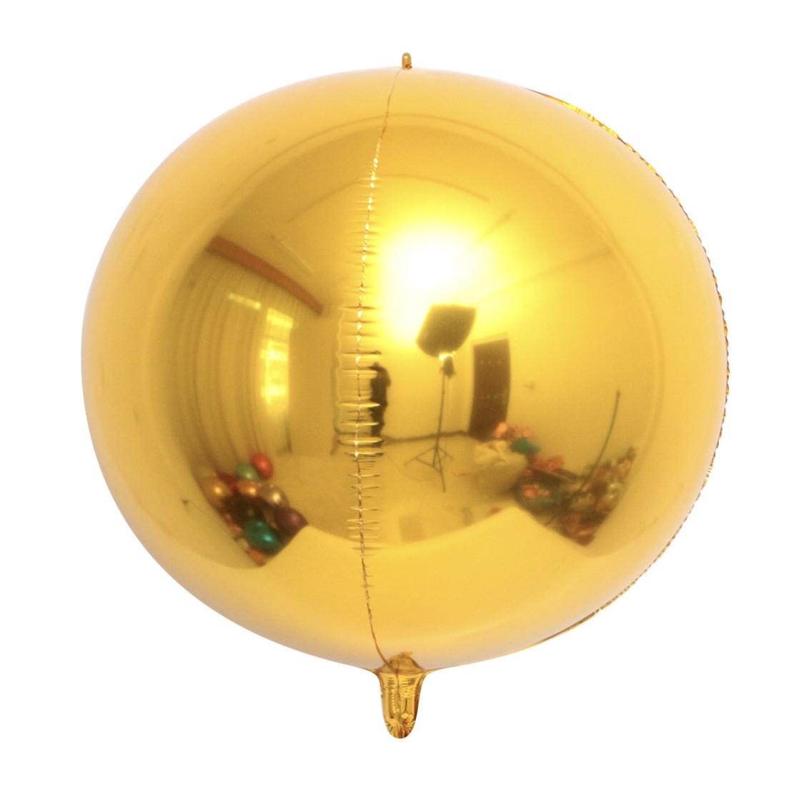 Фольгированный шар Сфера 3D Золото. Размер 10'