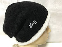 Мужская спортивная шапка с красивым ободочком   цвет черный с белым