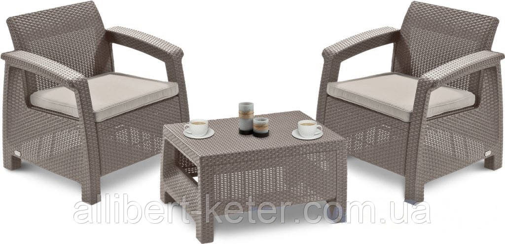 Комплект садовой мебели Allibert by Keter Corfu Balcony Set ( Weekend ) Cappuccino ( капучино )