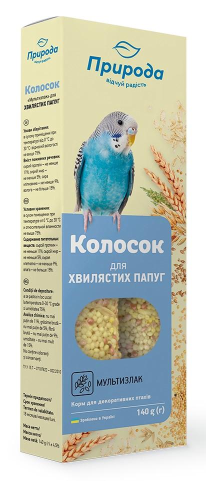 Лакомство для волнистых попугаев Колосок мультизлак Природа 140 г