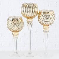 Набір з 3 скляних свічників на ніжці Золото