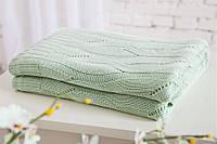 Плед вязаный 100 % хлопок бамбук 180 * 200 см. скандинавский стиль 850 г. цвет зеленый