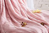 Плед вязаный 100 % хлопок бамбук 180 * 200 см. скандинавский стиль 850 г. цвет розовый