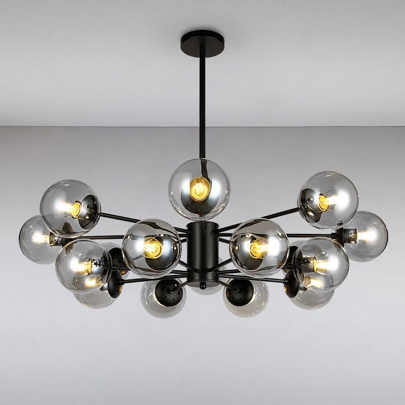 Люстра потолочная на шестнадцать ламп LS-814858-16 BK+CL черная
