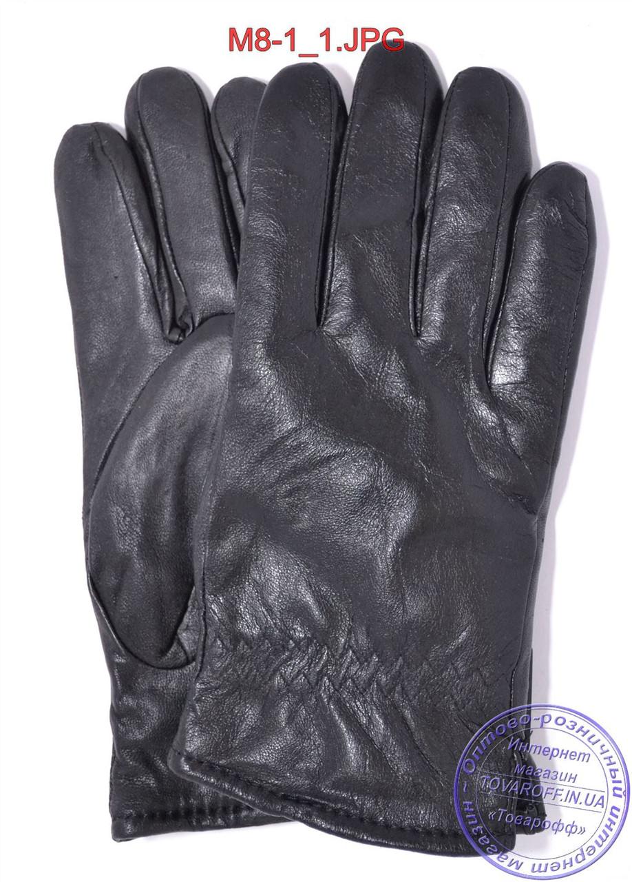 Мужские кожаные перчатки зимние на черном меху - №M8-1