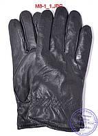 Мужские кожаные перчатки зимние на черном меху - №M8-1, фото 1