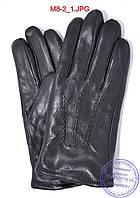Оптом мужские кожаные перчатки зимние на черном меху - №M8-2, фото 1