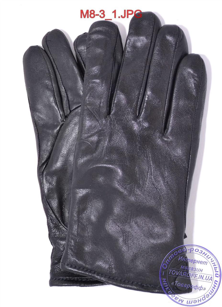 Оптом мужские кожаные перчатки зимние на черном меху - №M8-3