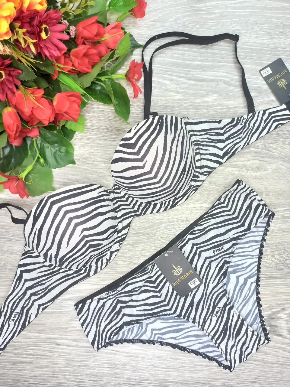 Комплект ,бюст+шорты Liza Maria серия Pink С 75 см черно-белый (2147)