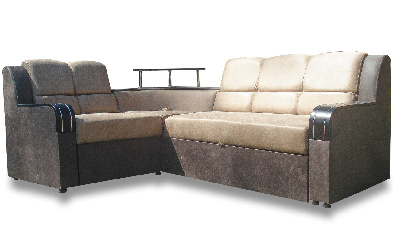 Кутовий Диван Мікс (Амелія беж + браун) диван з нішею для білизни
